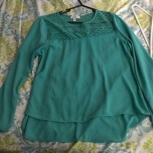 Meraki Green Lace Sheer Bubble Sleeve Top